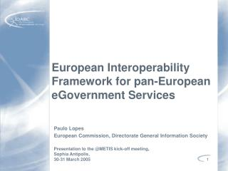 European Interoperability Framework for pan-European eGovernment Services