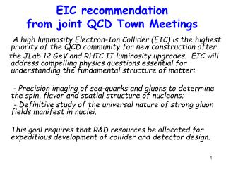 EIC recommendation  from joint QCD Town Meetings