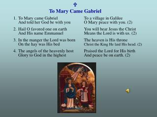 U To Mary Came Gabriel