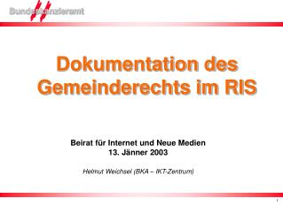 Dokumentation des Gemeinderechts im RIS