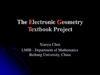 The  E lectronic  G eometry  T extbook Project