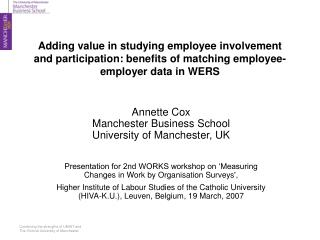 Annette Cox Manchester Business School University of Manchester, UK