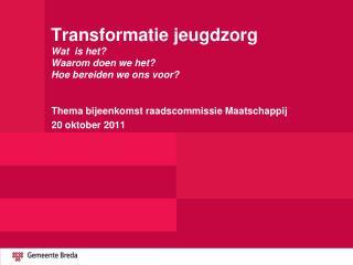 Transformatie jeugdzorg Wat  is het? Waarom doen we het? Hoe bereiden we ons voor?