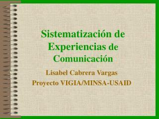 Sistematización de Experiencias de Comunicación