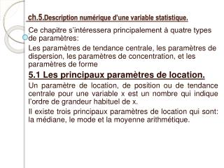 ch.5. Description num�rique d�une variable statistique.