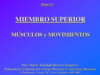 MIEMBRO SUPERIOR MÚSCULOS y MOVIMIENTOS