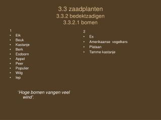 3.3 zaadplanten 3.3.2 bedektzadigen 3.3.2.1 bomen