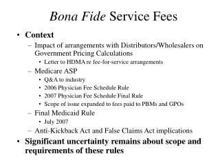 Bona Fide Service Fees