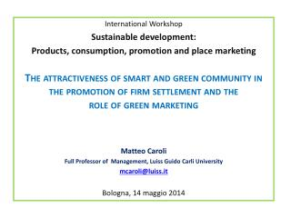 International Workshop Sustainable development :