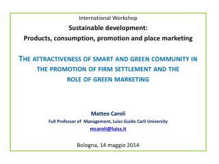 International Workshop Sustainable development :