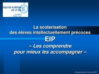 La scolarisation  des élèves intellectuellement  p récoces EIP «Les comprendre