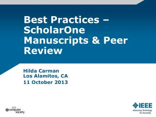 Best Practices – ScholarOne Manuscripts & Peer Review