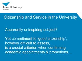 Citizenship and Service in the University