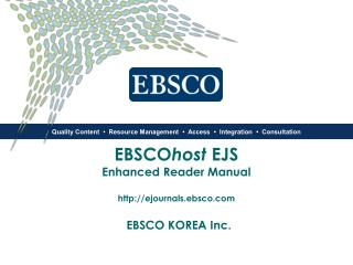 EBSCO host  EJS  Enhanced Reader Manual ejournals.ebsco