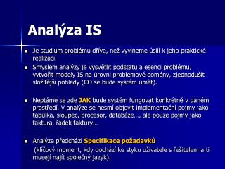Analýza IS
