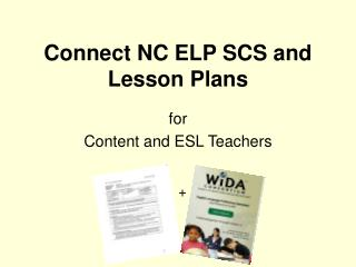 Connect NC ELP SCS and Lesson Plans