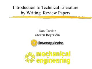 Introduction to Technical Literature by Writing  Review Papers