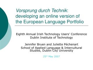 Vorsprung durch Technik : developing an online version of the European Language Portfolio
