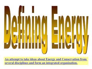 Defining Energy