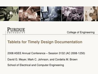 Tablets for Timely Design Documentation
