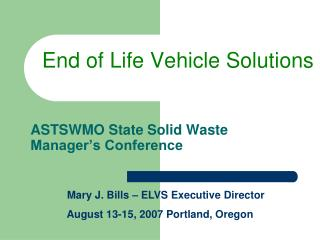 ASTSWMO State Solid Waste Manager's Conference