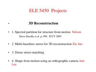 ELE 5450  Projects
