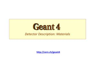 Detector Description: Materials