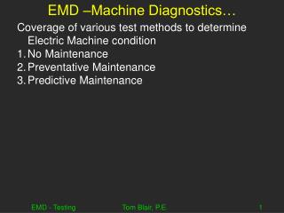 EMD –Machine Diagnostics…
