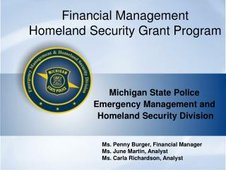 Financial Management Homeland Security Grant Program