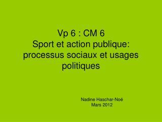 Vp 6 : CM 6  Sport et action publique: processus sociaux et usages politiques
