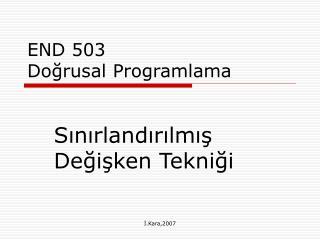 END 503  Doğrusal Programlama