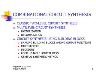 COMBINATIONAL CIRCUIT SYNTHESIS