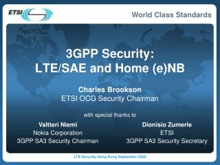 3GPP Security: LTE/SAE and Home (e)NB