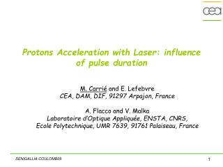 Protons Acceleration with Laser: influence of pulse duration