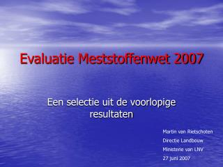 Evaluatie Meststoffenwet 2007