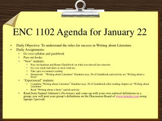 ENC 1102 Agenda for January 22