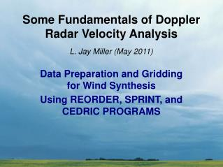 Some Fundamentals of Doppler Radar Velocity Analysis
