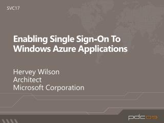 Enabling Single Sign-On To Windows Azure Applications