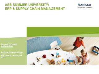 ASB SUMMER UNIVERSITY: ERP & SUPPLY CHAIN MANAGEMENT
