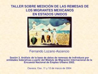 TALLER SOBRE MEDICI�N DE LAS REMESAS DE LOS MIGRANTES MEXICANOS  EN ESTADOS UNIDOS