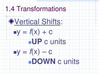 1.4 Transformations