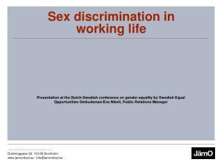 Sex discrimination in working life
