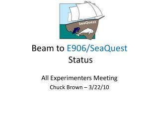 Beam to  E906/SeaQuest   Status