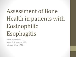 Assessment of Bone Health in patients with Eosinophilic Esophagitis