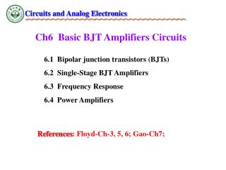 Ch6  Basic BJT Amplifiers Circuits