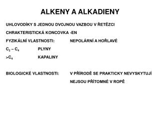 ALKENY A ALKADIENY