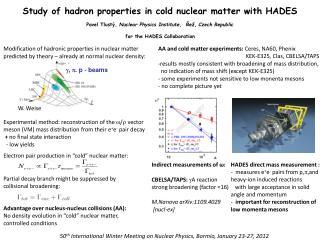50 th  International Winter Meeting on Nuclear Physics, Bormio, January 23-27, 2012