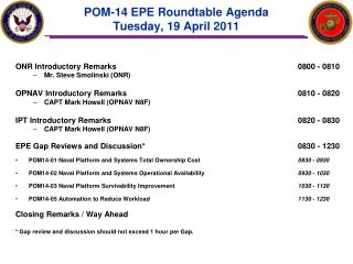 POM-14 EPE Roundtable Agenda Tuesday, 19 April 2011
