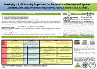 Developing a K-12 Learning Progression for Biodiversity in Environmental Systems