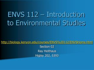ENVS 112 – Introduction to Environmental Studies